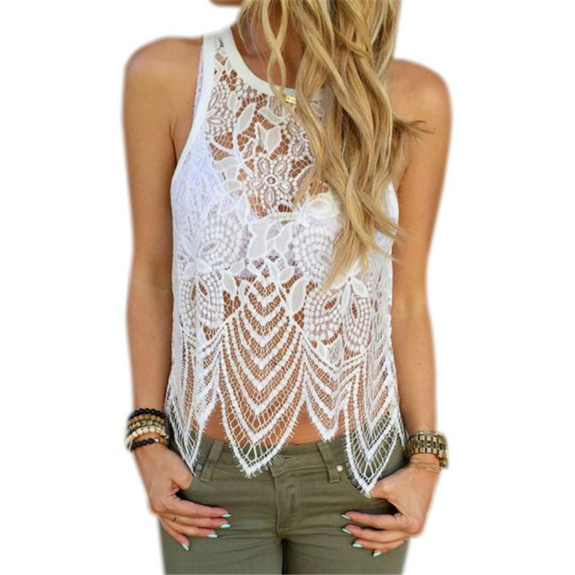 Elegant white lace Tank Tops Summer beach O-Neck tops Sexy white party See-Through women Cut Out Hrem tank top #TH