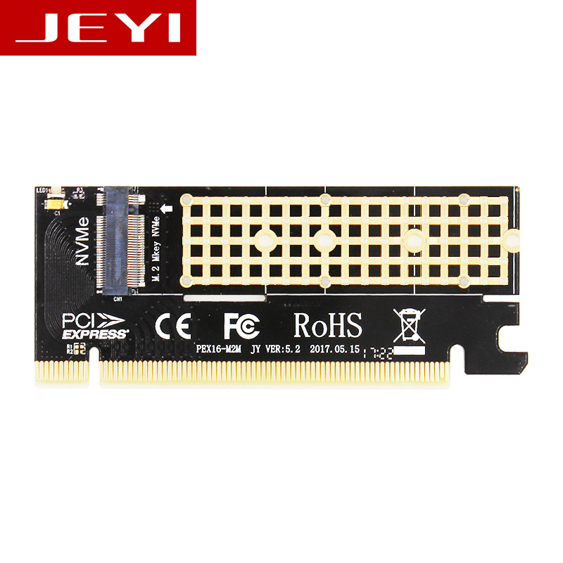 JEYI MX16 M.2 NVMe SSD NGFF TO PCIE 3.0 X16 adapter M Key interface card Suppor PCI Express 3.0 x4 2230-2280 Size m.2 FULL SPEED