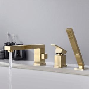 Image 3 - Gold brush Bathtub faucet mixer with hand shower double function bathtub faucet set deck mounted bath shower tap MJ04112BG