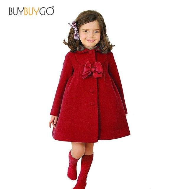 Девушки Зимнее Пальто Шерсть Кашемир Верхняя Одежда Пальто детский Clothing Kids Принцесса Однобортный Шерстяное Пальто