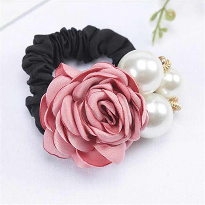 1 PC อุปกรณ์เสริมผมผู้หญิงแฟชั่นสไตล์ Big Rose ดอกไม้เพิร์ล Rhinestone ผมวงยืดหยุ่นผมเชือกแหวน 5 สีสำหรับหญิง