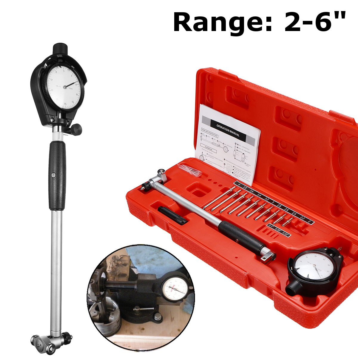 цена на 2-6 Grad 0.0005 Steel+ABS 10 Anvils Dial Bore Gauge Measuring Indicator Resolution Engine CylinderChangeable/Movable Probe
