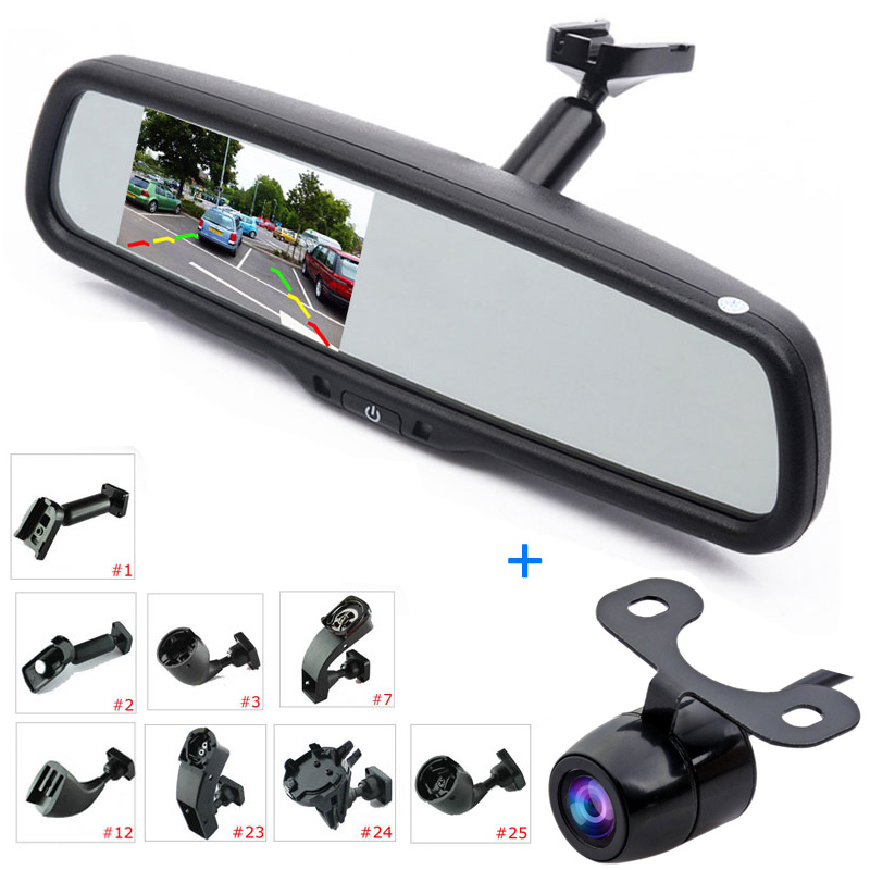 Car Rear View Kit 4.3 LCD Mirror Monitor + Reverse Backup Parking Camera, Interior Replacement Rearview Mirror with OEM Bracket