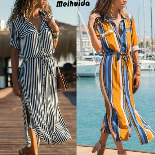 Boho Women Summer Long Sleeve Stripe Shirt Dress Split Beach Casual Midi Maxi Dress