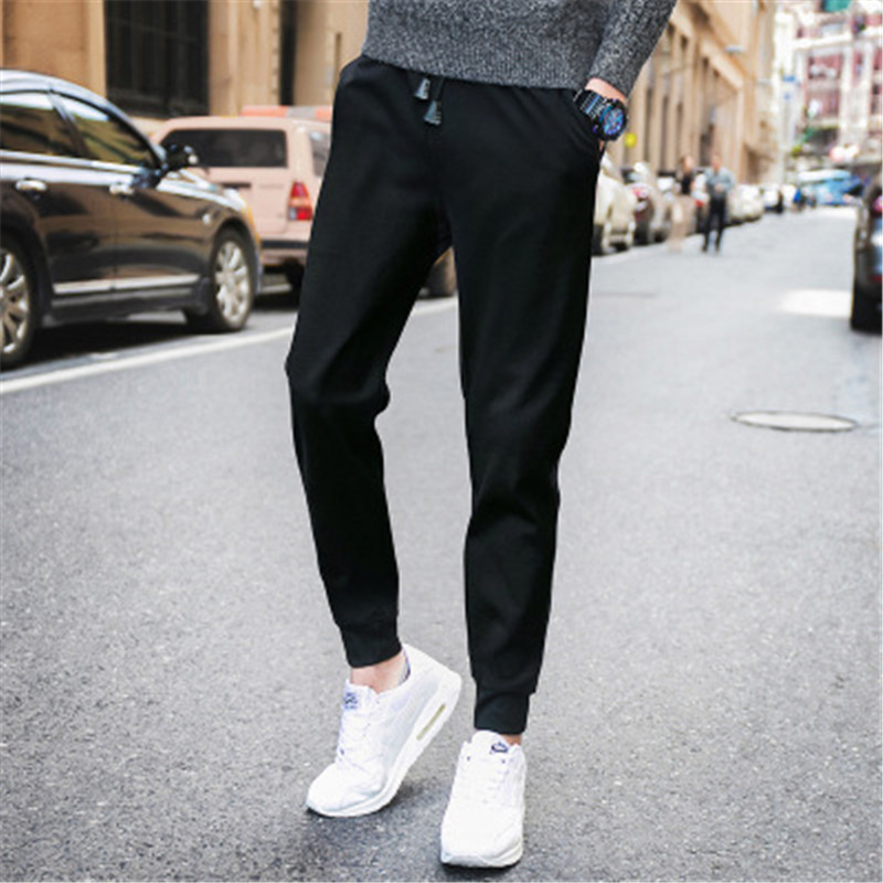 2018 autumn and winter new men's casual pants solid color sports feet pants class clothes basketball pants XDX02
