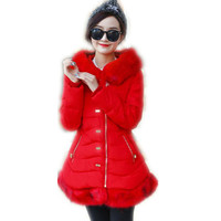 2017New Style Winter Autumn Down Cotton Medium Long Jacket Parka Female Hooded Soft Fur Collar Slim