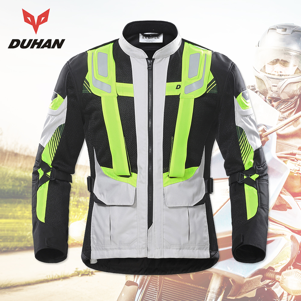 DUHAN Motorcycle Jacket Men Summer Motorbike Protective Gear Breathable Mesh Reflective Riding Motorcycle Clothing Moto Jacket rsj285 jacket summer motorcycle jacket men riding windbreaker with 5 sets of protective equipment