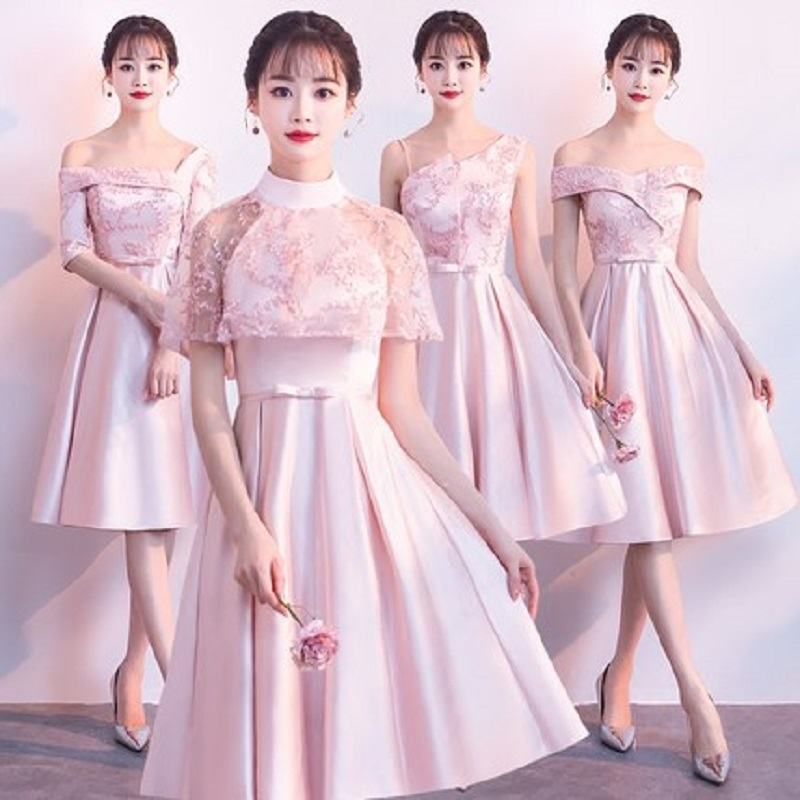 2018 new stock plus size women pregnant   bridesmaid     dress   wedding party A line lace backless sexy romantic cheap Champagne   dress