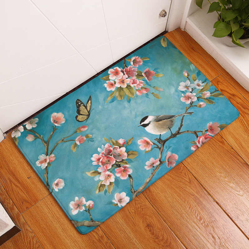 Chinese Painting Peach Blossom Magnolia Cage Birds Cartoon Owls Doormat Kitchen Mat Welcome Rug No Slip Runner Rug Blue White Rug Blue Rug Welcomerug White Aliexpress