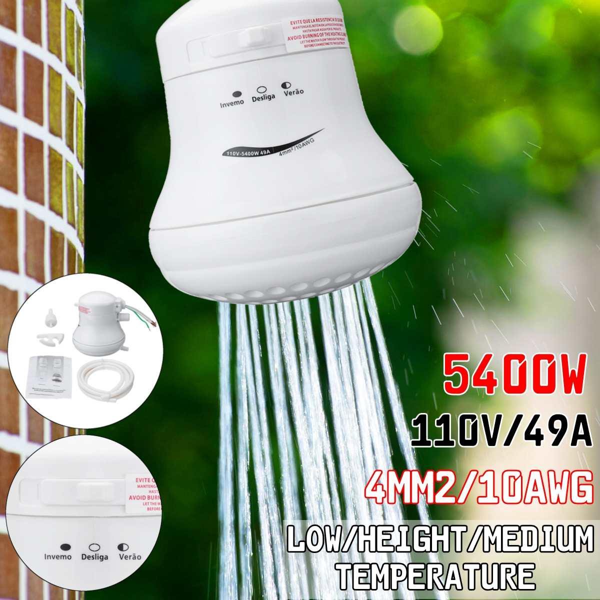 Pommeau de douche électrique haute puissance 110 V/220 V chauffe-eau instantané 5.7ft support de tuyau 3800 W ~ 5400 W régulateur de température