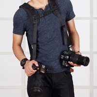 PULUZ Fashionable Durable Soft DSLR Professional K Pattern Camera Double Shoulder Strap Black Adjustable Belt PU6002