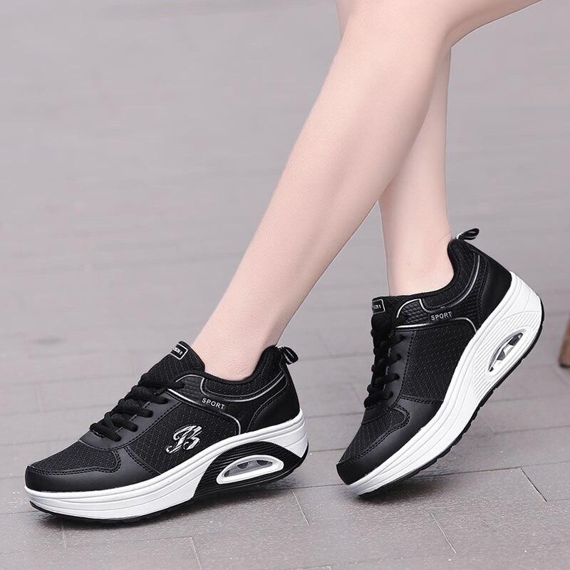 size 40 79fbb 03640 D air white Mode Chaussures Antidérapants Femmes Décontracté Augmenter  Respirant pink Lacet Black Red 7 De ...