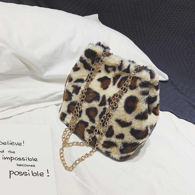 120a0bffbc6f Detail Feedback Questions about 2018 winter bucket chain bag fashion  designer handbag leopard faux fur PU leather shoulder bag cute mini bags  for women ...