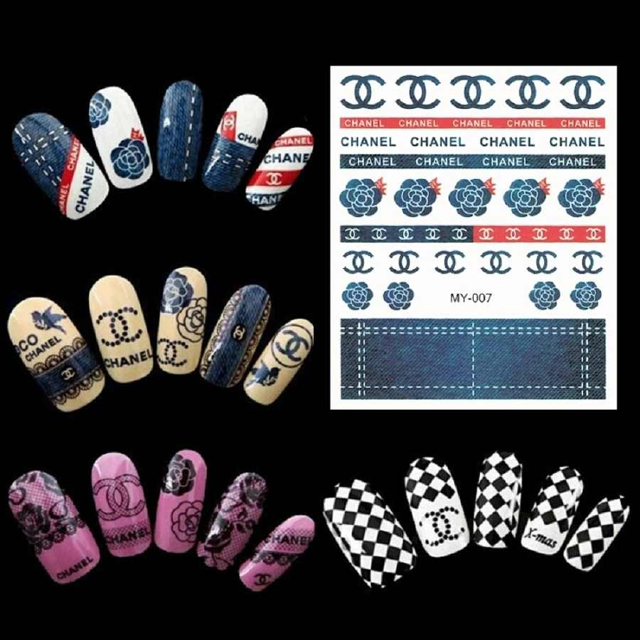50 pcs newest design brand logo nail sticker water transfer decals for nail art decoration beauty