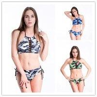 2018 New Sexy Vintage Push Up Bikini Set Camouflage Halter Brazilian Tong String Women Swimsuit High Neck Beach Bathing Swimwear