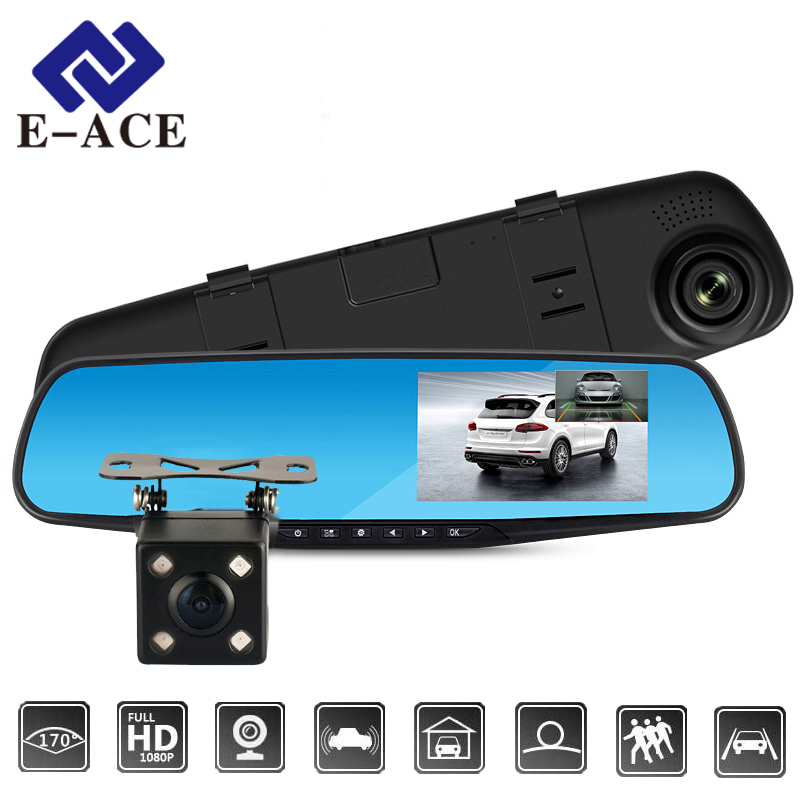 E-ACE Full HD 1080 P Cámara del Dvr del coche de espejo retrovisor de 4,3 pulgadas grabadora de Video Digital de doble lente Registratory Camcorder