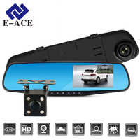 E-ACE Full HD 1080P Cámara Dvr coche Auto 4,3 pulgadas espejo retrovisor grabadora de vídeo Digital cámara de doble lente