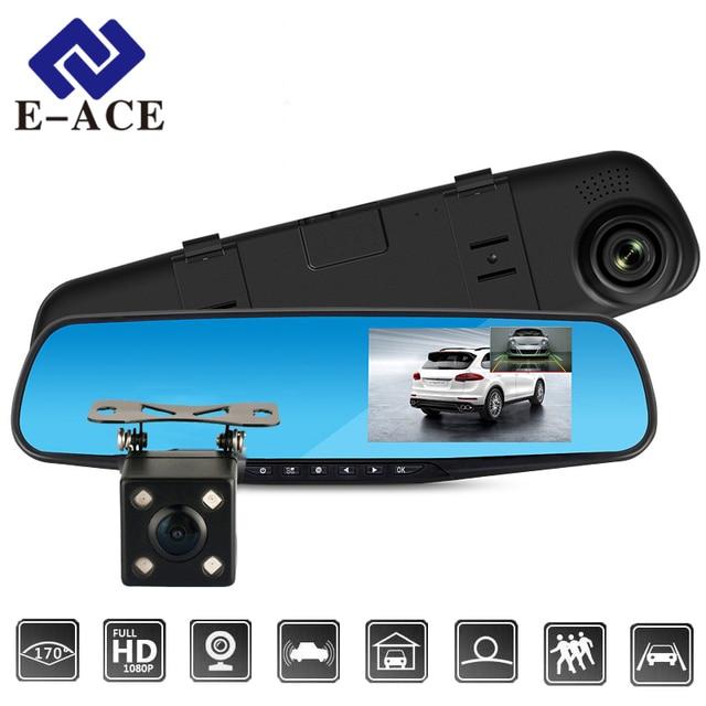 E-ACE Tam HD 1080 P araba dvr'ı Kamera Otomatik 4.3 Inç dikiz aynası Dijital Video Kaydedici Çift Lens Registratory Kamera