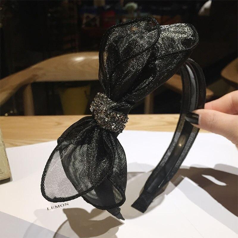 Spitze Gaze Bogen Haarbänder Frau Grad Kristall Webte Stirnbänder Momy Geschenk Headwear Mädchen Glänzenden Bowknot Haar-accessoire Viel Farben