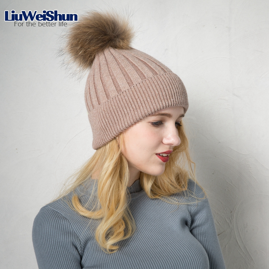 LiuWeiShun Autumn winter beanies hat unisex knitted wool Skullies casual Ski cap with real raccoon Mink fur pompom solid colors skullies