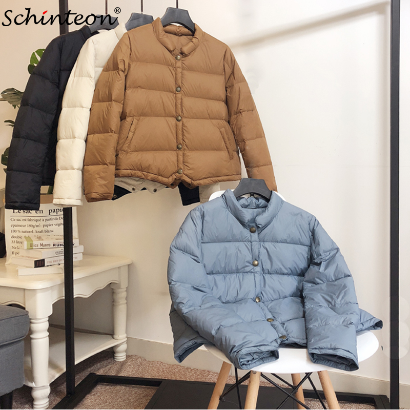 Schinteon Down Jacket Women Short 90% White Duck Down Outwear Slim Casual Coat Ultra Light Down Jackets Autumn New Arrival