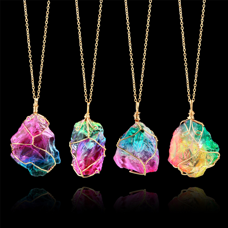 Women S Necklaces With Big Pendant Rainbow Natural Stone