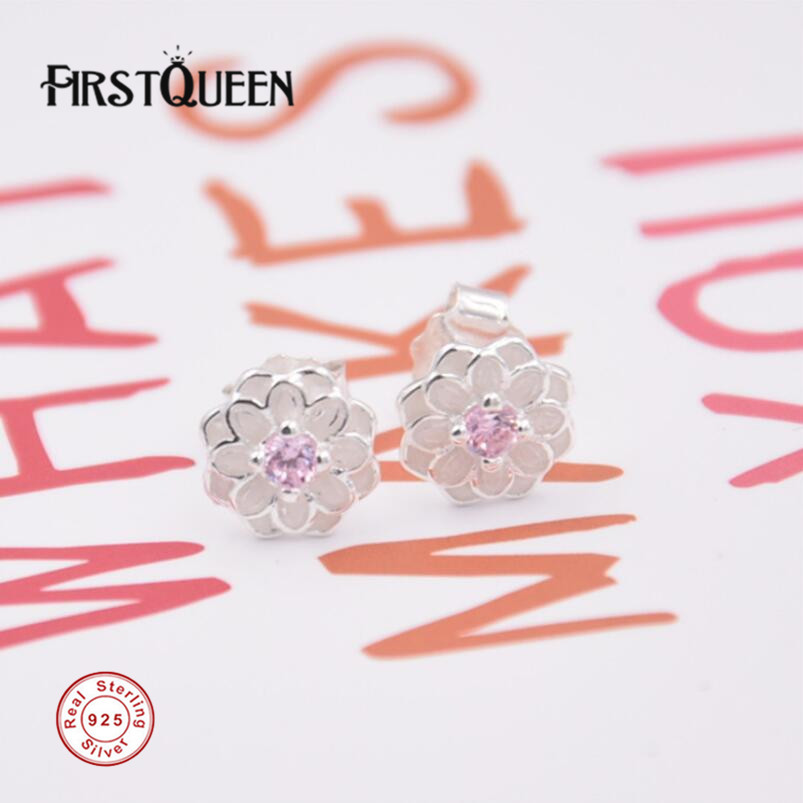 FirstQueen Solid 925 Silver Flower Stud Earring Ear Rings Brinco Feminino 2017 Christmas Gift Fine Jewelry