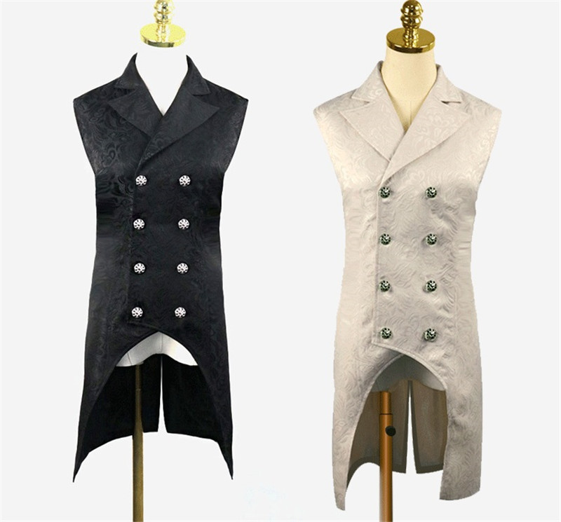 2019 New Medieval Mens Steampunk Double Breasted Vest Waistcoat Gothic Court Style Top Brocade Aristocrat Elegant Vest Jacket