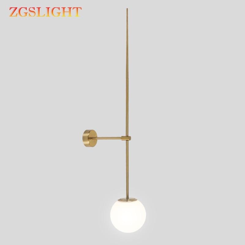 Minimalist Nordic Postmodern Line Wall Lamp Glass Ball Led Wall Sconce Light Fixtures Bathroom Bedside Mirror Lights Loft Decor LED Indoor Wall Lamps     - title=