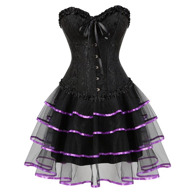 Black   Corset   Dress Sexy Women Shapewear   Corset   and   Bustier   Push up Gothic   Corset   with Tutu Skirt Salon Girls Costume Plus Size