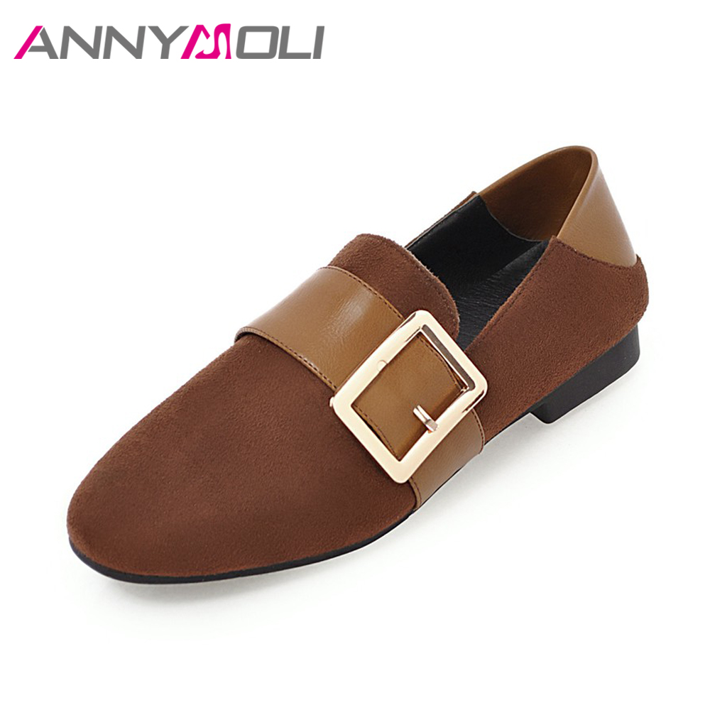 ANNYMOLI Women Loafers Buckle Flats Round Toe Spring Shoes Female Slip On Mules Shoes Ladies Flat Shoes Size 34-39 Gray Brown beyarne spring summer women moccasins slip on women flats vintage shoes large size womens shoes flat pointed toe ladies shoes