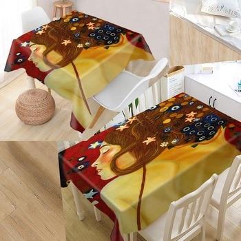 Custom The Kiss - Gustav Klimt Table Cloth Oxford Rectangular Waterproof Oilproof Table Cover Wedding Tablecloth #QAZ98K