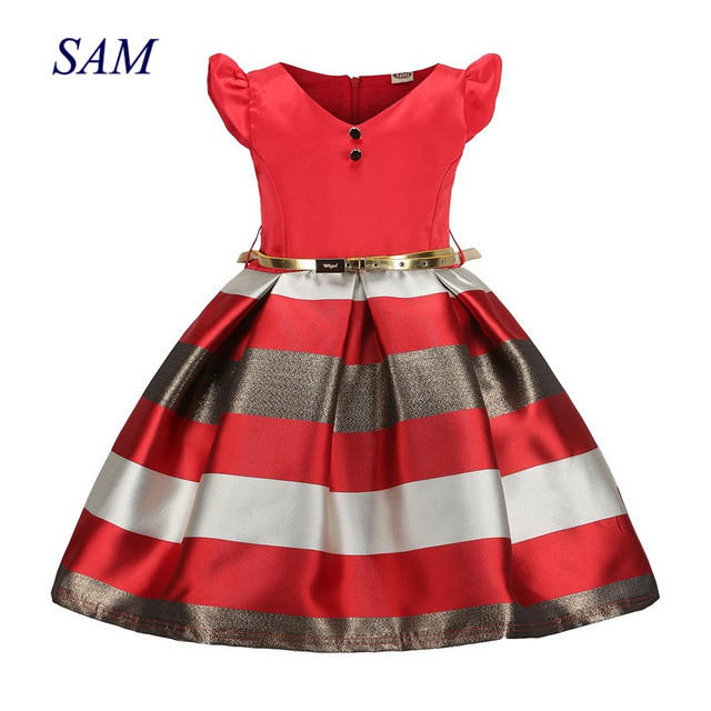Платья для девочек в европейском и американском стиле; летнее платье для девочек; Лоскутная детская одежда с поясом; платье принцессы для вы...