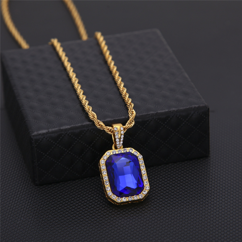 Vintage Hip Hop Golden Bling Iced Out Mini Stone Stainless Steel Chain Pendants Necklaces For Men Women Charm Crystal Jewelry