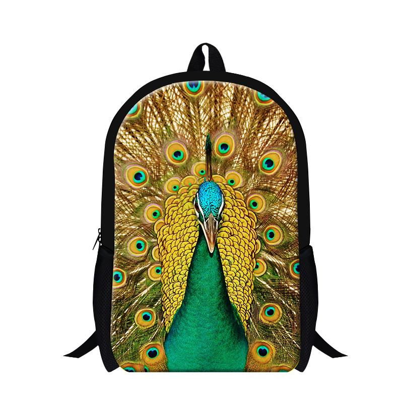 Peacock Animal Backpack Children Boy School Bags 3D Animal Bag Kids Backpack Girls Mochila Infantil Menina