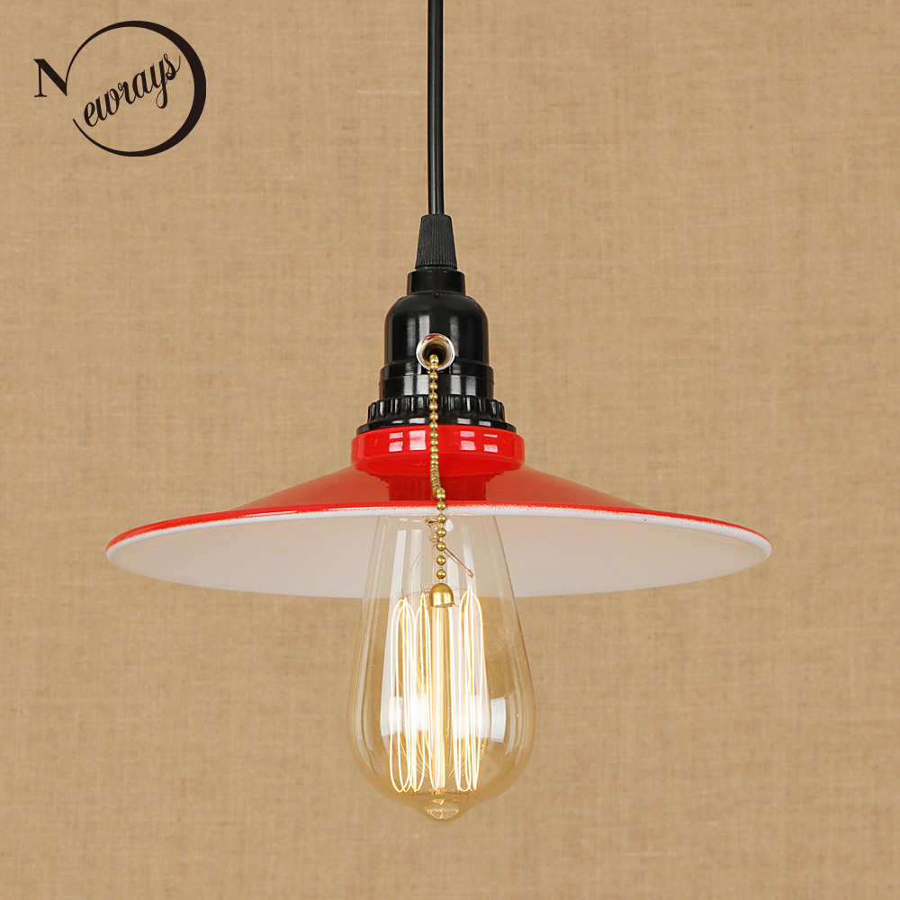 Loft Industrial iron shade Pendant Lamp Adjustable Cord E27 LED Hanging Lights vintage Zipper Switch For kitchen Living Room Bar