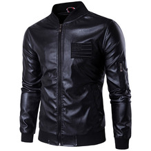 brand men leather jacket Autumn Stand