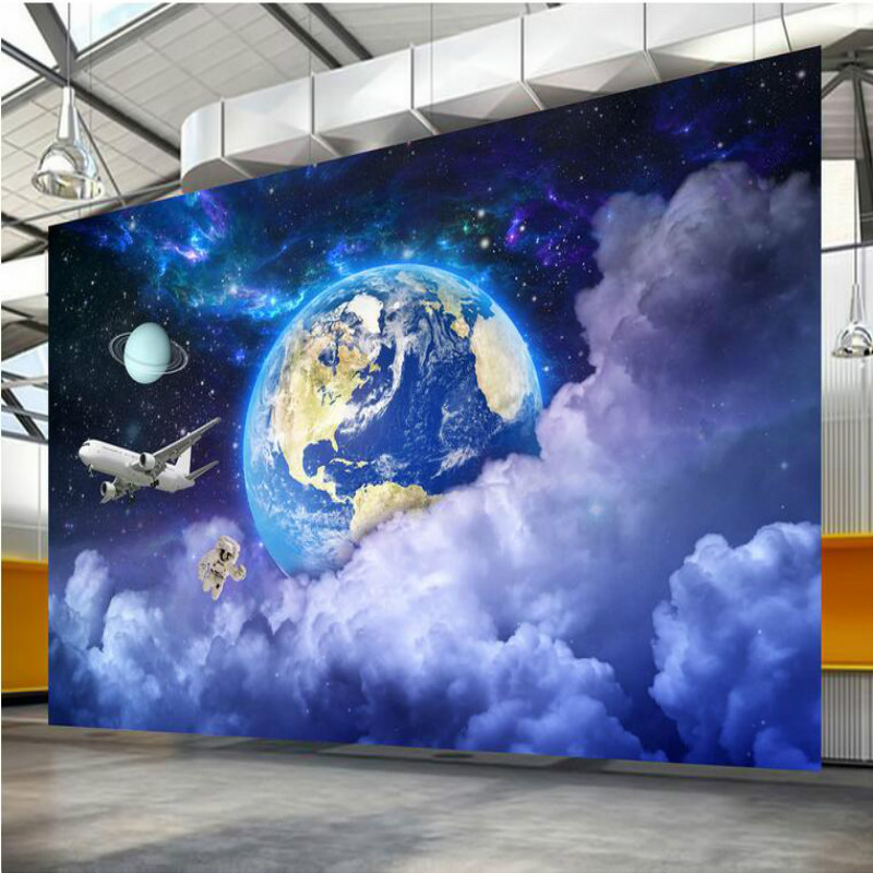 Home Improvement 3D Wallpaper for Walls 3d Decorative Vinyl Wall Paper Modern Star Earth Galactic Planet wallpapers damask wallpaper for walls 3d wall paper mural wallpapers silk for living room bedroom home improvement decorative