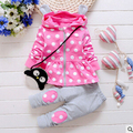 2015 New Autumn Baby 2pc Suit cat Baby Girls Clothing Sets Velvet Sport Suits Hoodie Jackets +Pants Bebe Kids Clothes