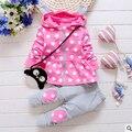 2015 Nueva Otoño Bebé 2 unid cat Suit Ropa de Bebé Niñas Establece Terciopelo Trajes Deportivos Chaquetas Con Capucha + Pantalones Bebe Ropa de los cabritos