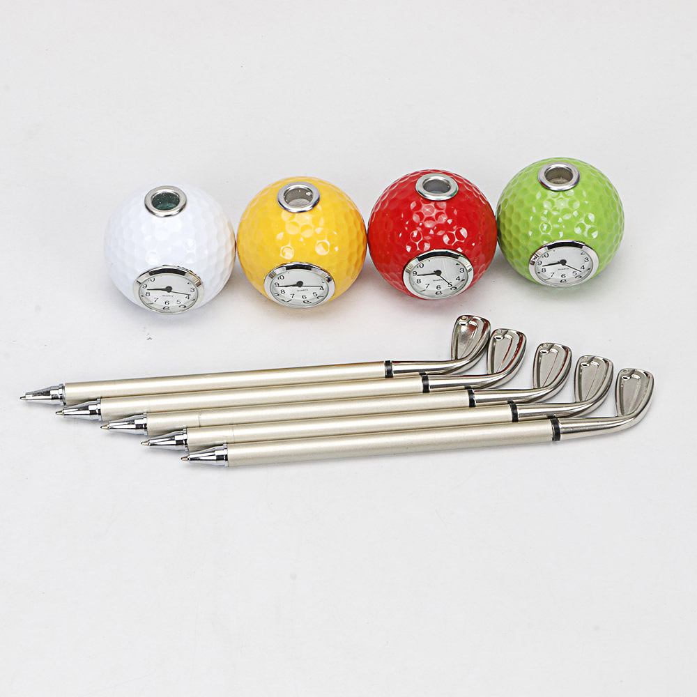 Image 5 - golf gift Golf club shape Ballpoint Pen with golf ball clock golf promotional desktop gift-in Golf Training Aids from Sports & Entertainment