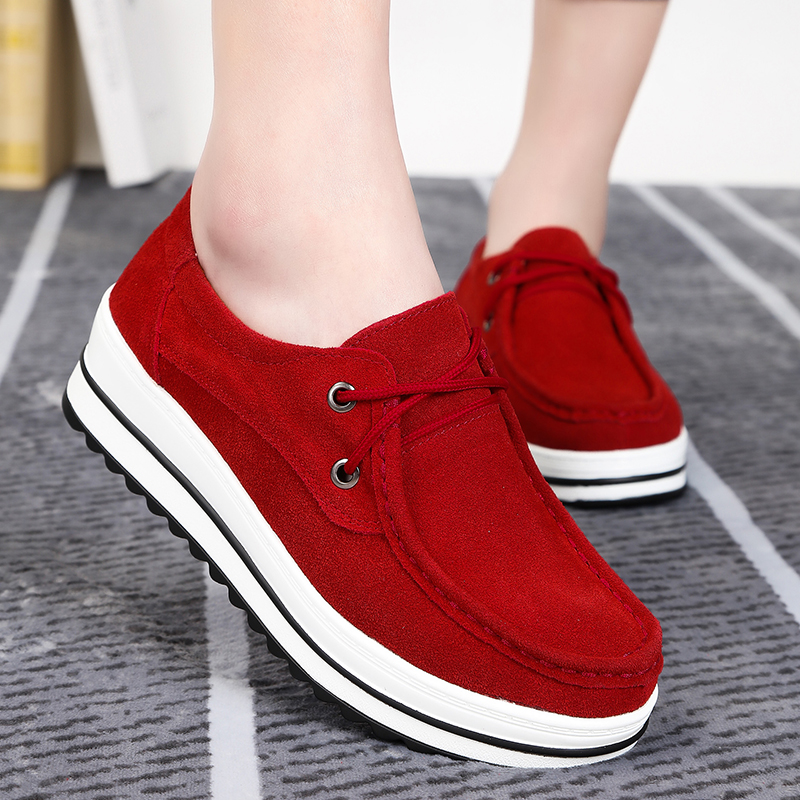 Women Flats Plus Size   Suede     Suede     Leather   Platform Creepers Female Moccasins Shoes Fashion Lace Up Ladies Footwear
