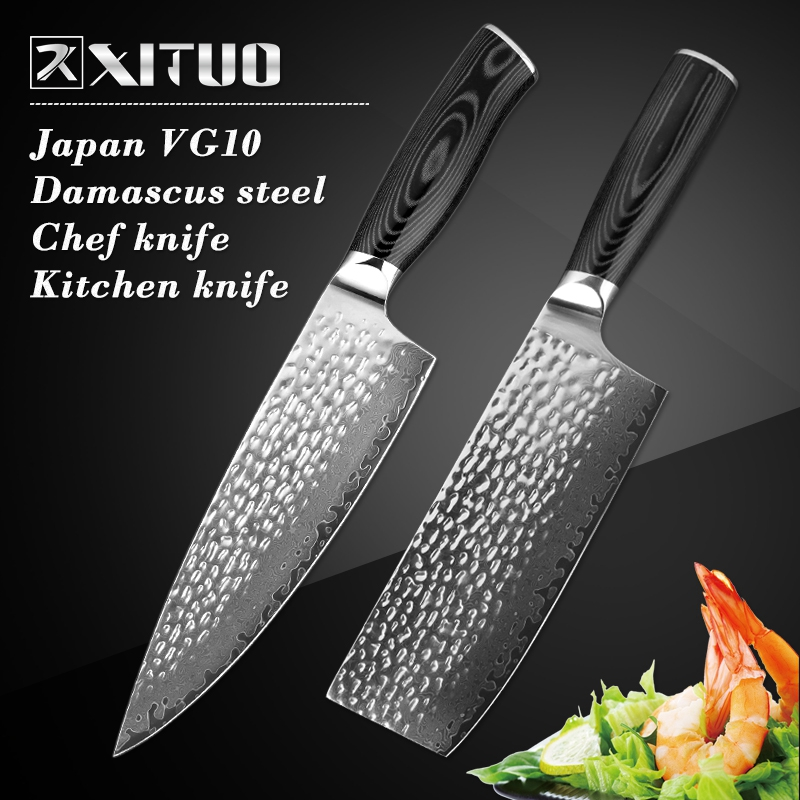 XITUO 8 Inch VG 10 Steel Damascus Kitchen Cleaver Knives Japanese Damascus Chef Knife Micarta Handle