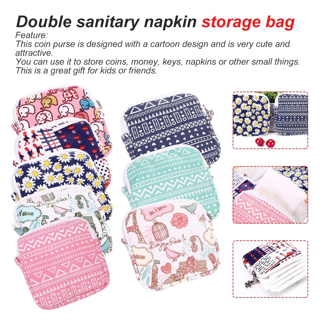 Reusable Bag Multi-functional Wet Bag For Mama Cloth Pads Menstrual Pad Sanitary Pads Bags Can Be Coin Makeup Bag Makeup Tool