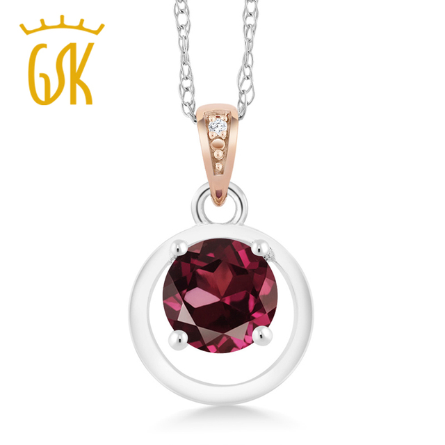 Natural gemstoneking 925 sterling silver and 10k rose gold pendant natural gemstoneking 925 sterling silver and 10k rose gold pendant rhodolite garnet diamond accent for aloadofball Image collections