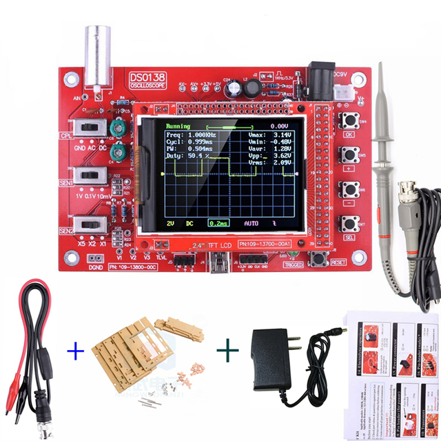 """DSO138 Digital Oscilloscope Board  2.4"""" TFT 1Msps Digital Oscilloscope Board Kit With P6100 Probe and Charge"""