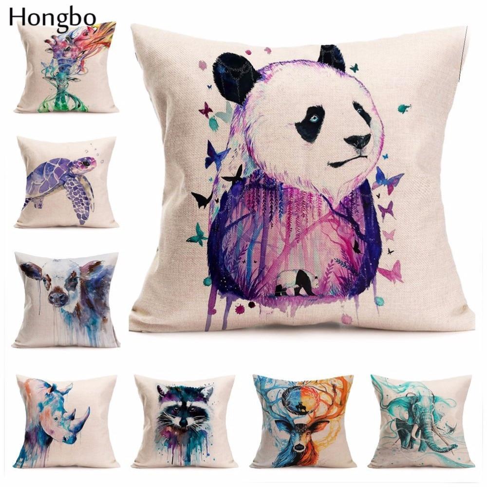 Hongbo Watercolor Animals Bear Panda Raccoon Elephant Tiger Rhinoceros Horse Cushion Cover Sofa Throw Pillow Case