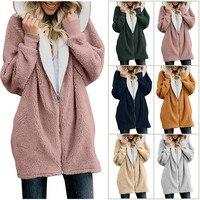 Women's Jackets Winter Coat Women Cardigans Ladies Warm Jumper Fleece Faux Fur Coat Hoodie Outwear manteau Femme Plus size 5XL 5
