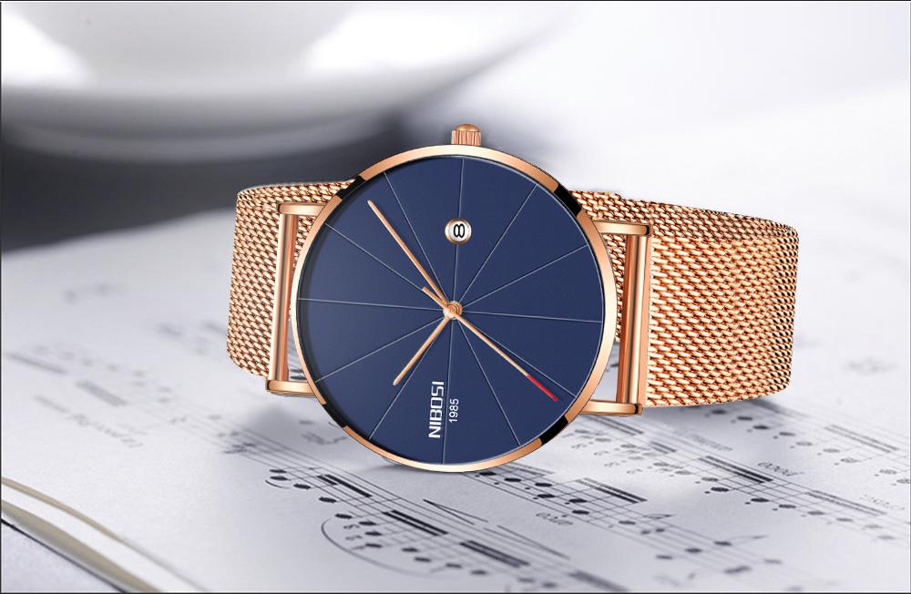 NIBOSI watch men black quartz wristwatches stainless steel mesh brand  watches men ultra thin quartz relogio masculino dourado (11)