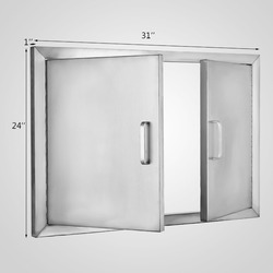EU FREE SHIPPING Stainless Steel 304 Access Double Walled Door 79x61cm BBQ Kitchen Paper Holder